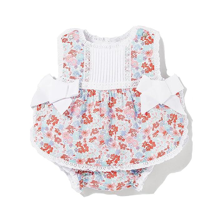 94734f066 Dulces Ropa para Bebes Marca Vestido de Bebes Floreado con Lazos Bordado y  puntilla  Amazon.es  Ropa y accesorios