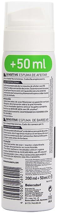 6ab24b4ffb4 NIVEA MEN Sensitive Espuma de Afeitar sin Alcohol para Pieles Sensibles -  250 ml  Amazon.es  Amazon Pantry
