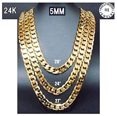Gold Chain Necklace 24K Plated Small 5MM w Tarnish Resistant