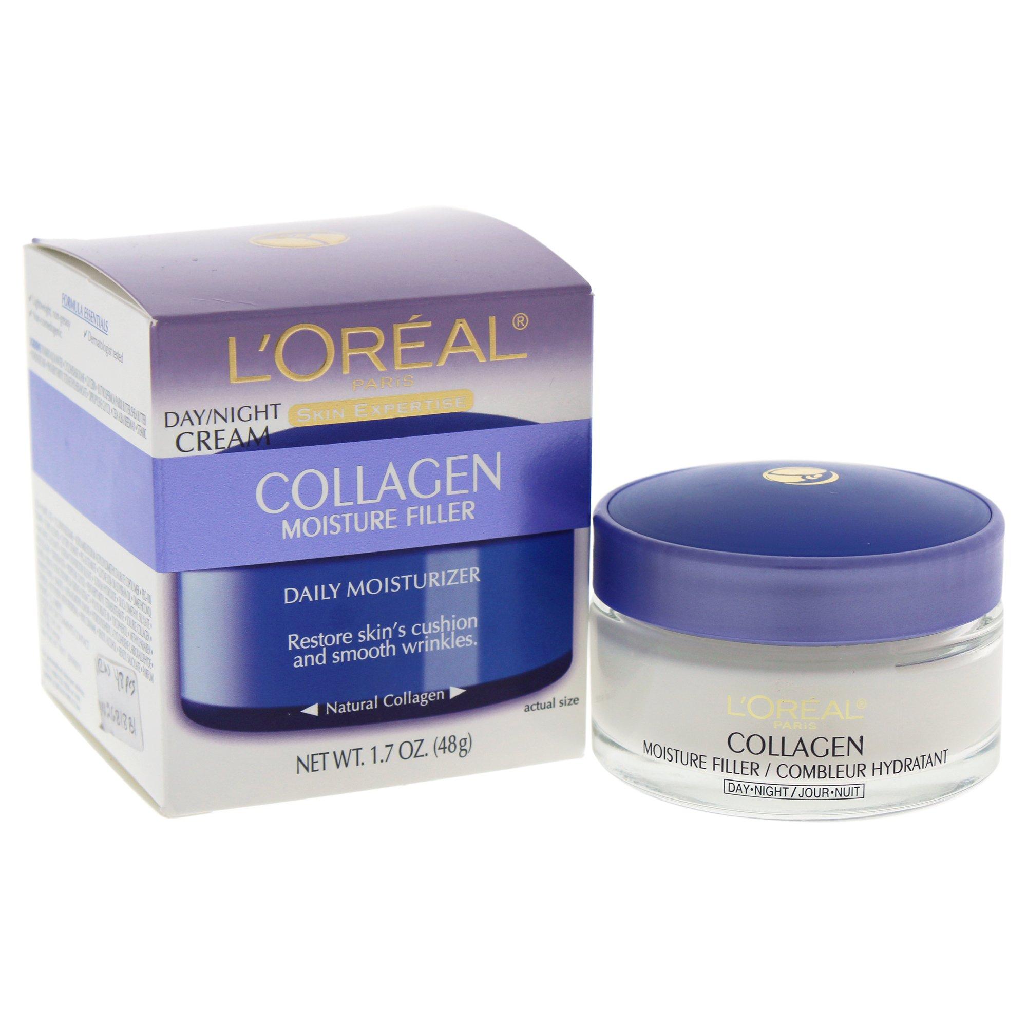 L'Oreal Paris Collagen Moisture Filler Anti Aging Night Face Cream, Dermatologist tested for gentleness, 1.7 oz.
