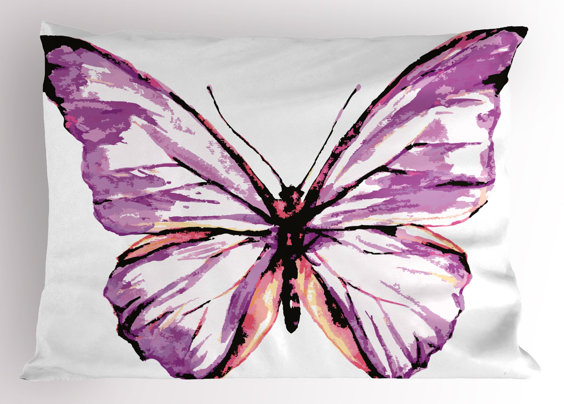 Ambesonne Animal Pillow Sham, Artistic Butterfly Design in Watercolors Wings Moth Vintage Illustration, Decorative Standard King Size Printed Pillowcase, 36 X 20 inches, Violet Salmon Black