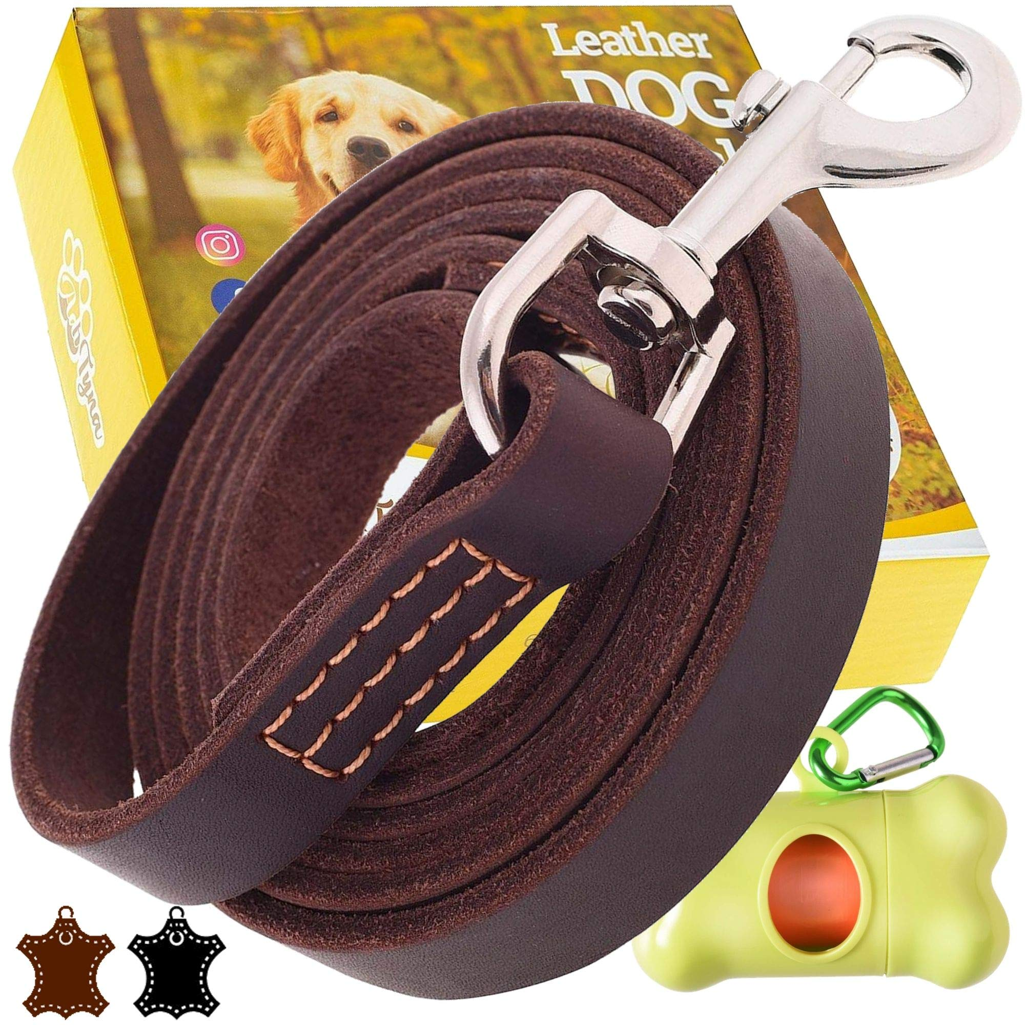 ADITYNA Leather Dog Leash 6 Foot x 3/4 inch - Soft and Strong Leather Leash for Large and Medium Dogs - Dog Training Leash (Brown) by ADITYNA
