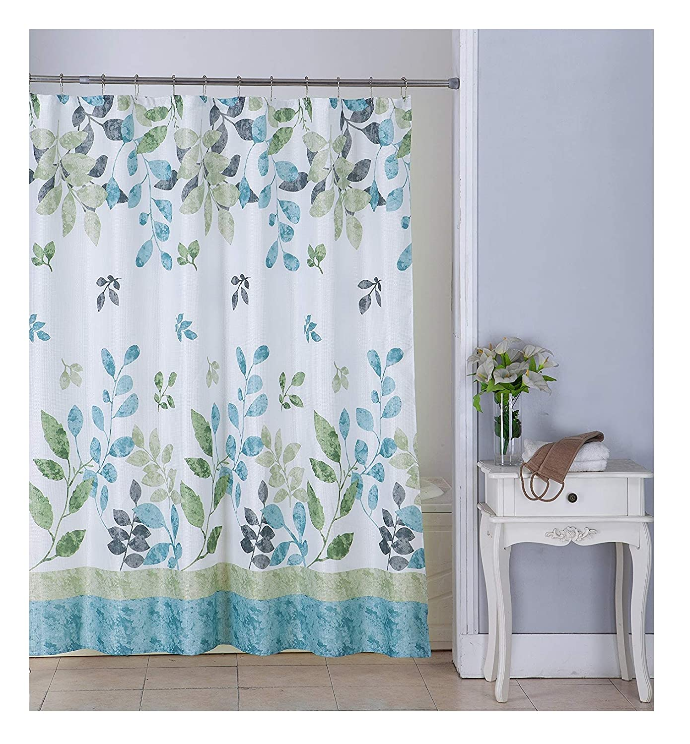Amazon All American Collection New Waffle Print Fabric Shower Curtain Set 12 Roller Ball Hooks Sage Green Home Kitchen