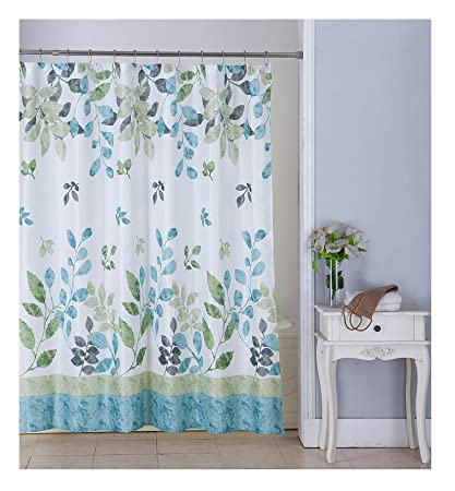 All American Collection New Waffle Print Fabric Shower Curtain Set 12 Roller Ball Hooks Sage