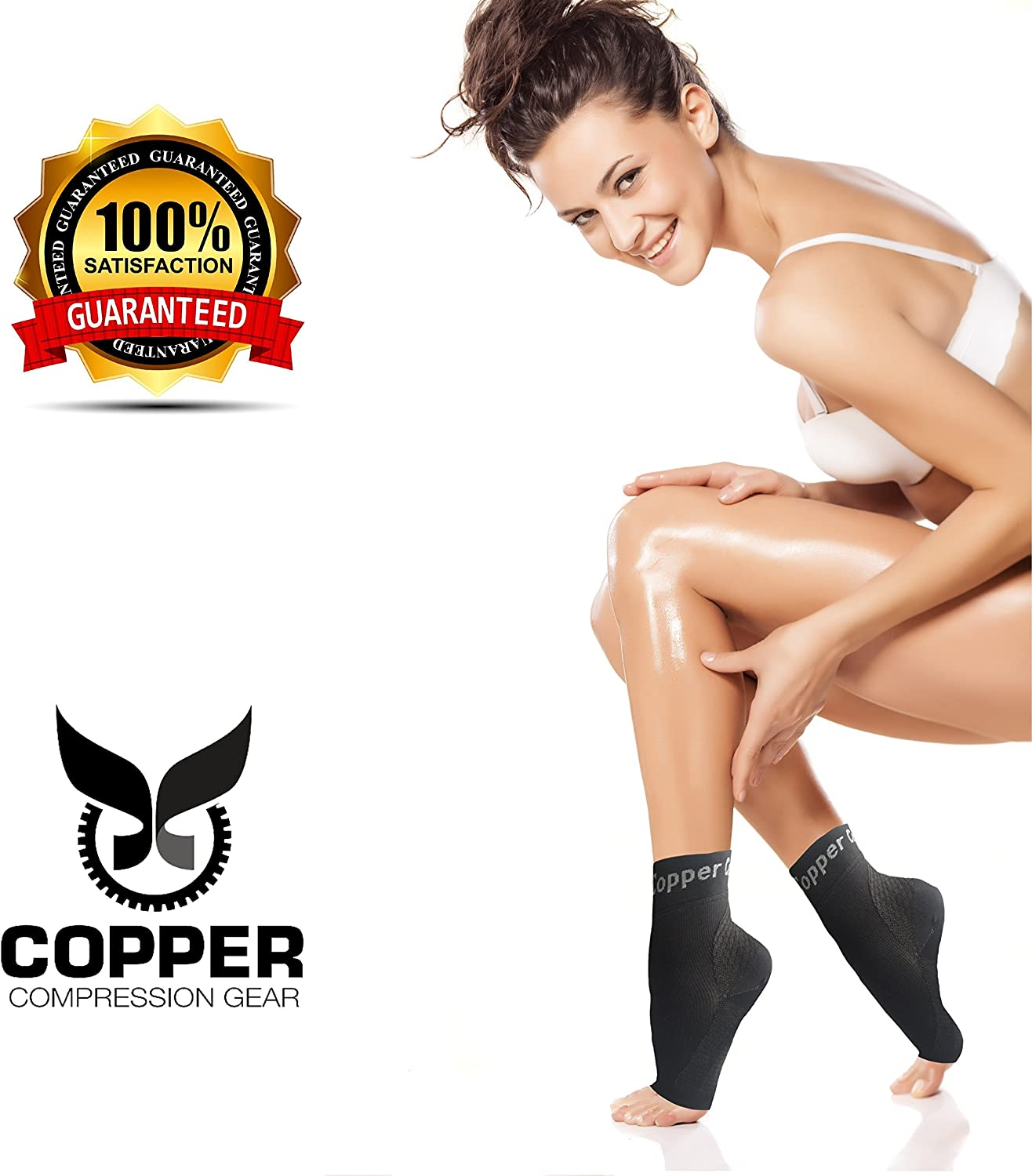 Reduce Swelling Speed Up Recovery Copper Compression Gear Plantar Fasciitis Foot Sleeves Support Socks for Men and Women 1-Pair Size XL Support. Get Instant Relief