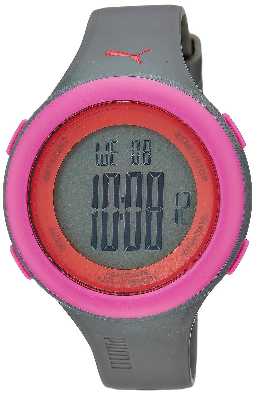 PUMA PU910961004 - Reloj Digital Unisex, Correa de plástico Color Gris