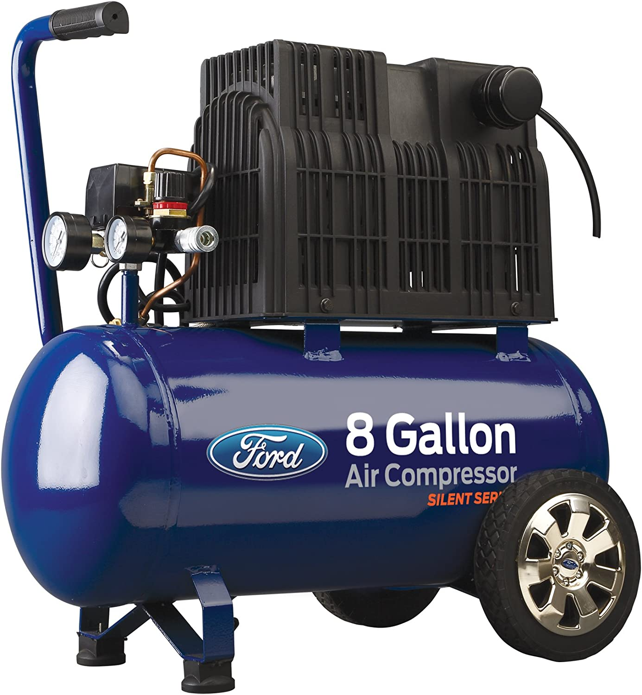 Ford Silent Series 8 Gallon Horizontal Tank 1.5 HP, 125 Max PSI Oil-Free Air Compressor, FCE6080Q