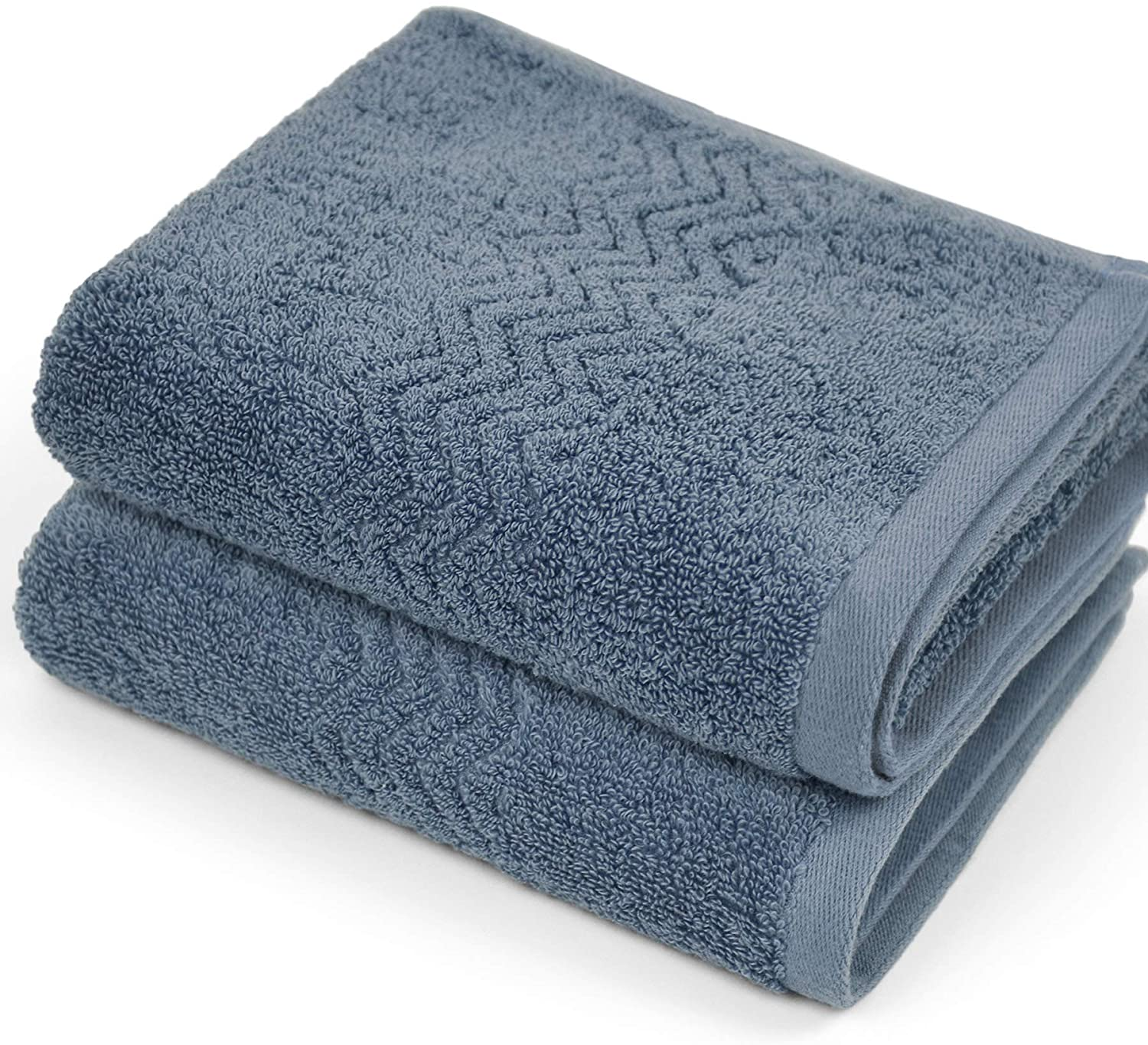 Cleanbear 100 Cotton Hand Towels Highly Absorbent Set Of 2 Blue Grey 13 X 28 Inches Amazon Co Uk Kitchen Home
