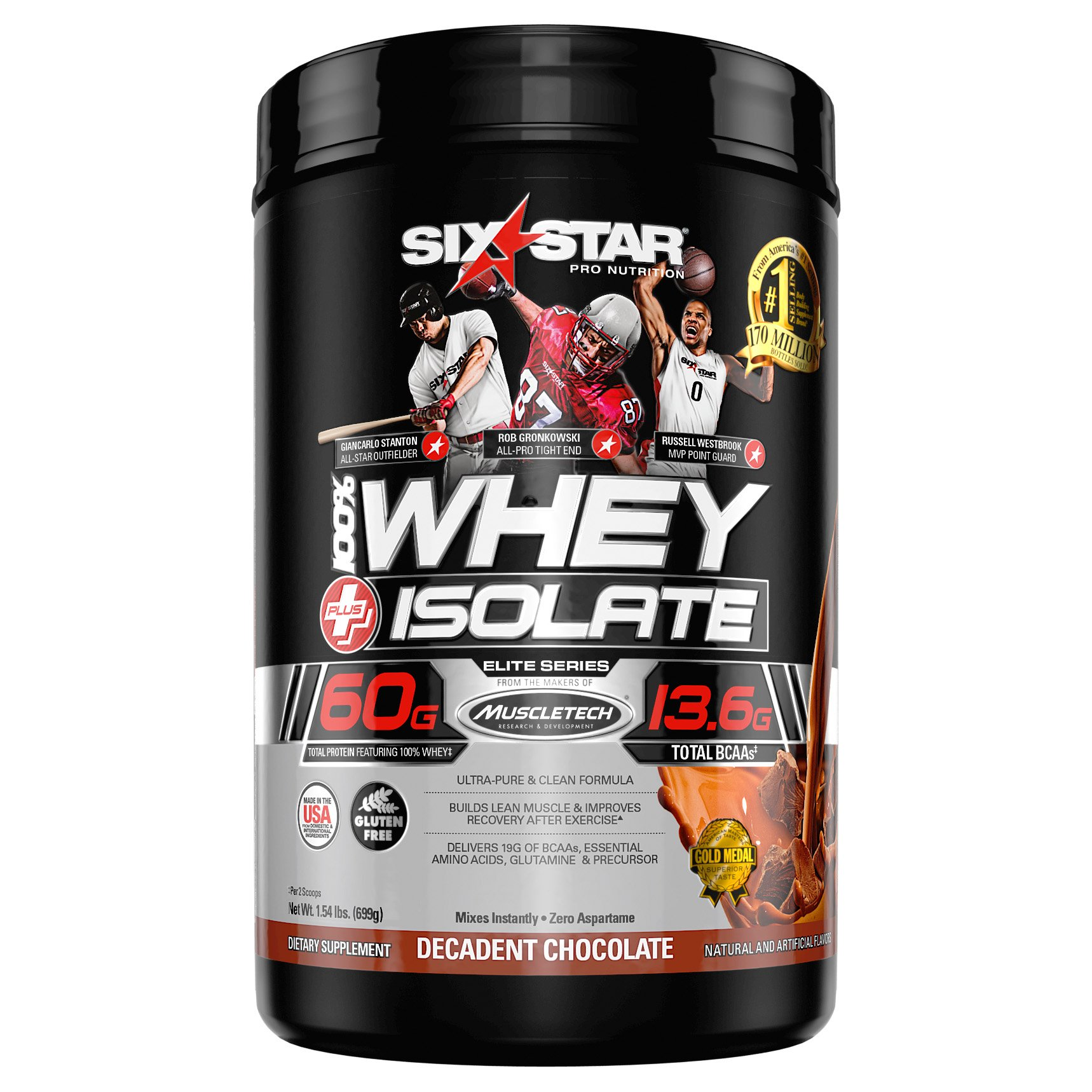 Six Star Whey Isolate Plus Protein Powder, 100% Whey Protein Isolate, Decadent Chocolate, 1.5 Pounds by Six Star