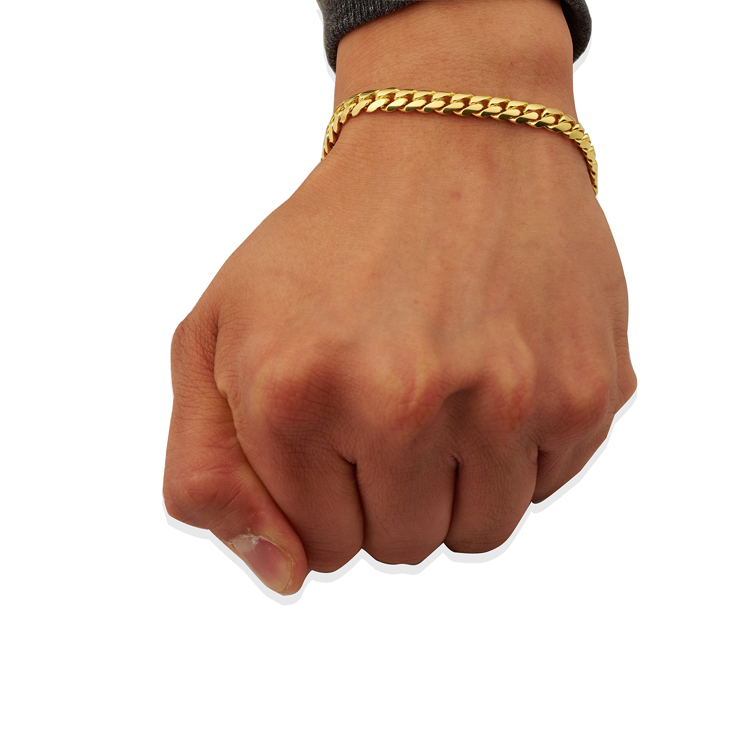 Mr. Bling 14K Yellow Gold 6mm Solid Miami Cuban Bracelet with Secure Box Lock (8'')