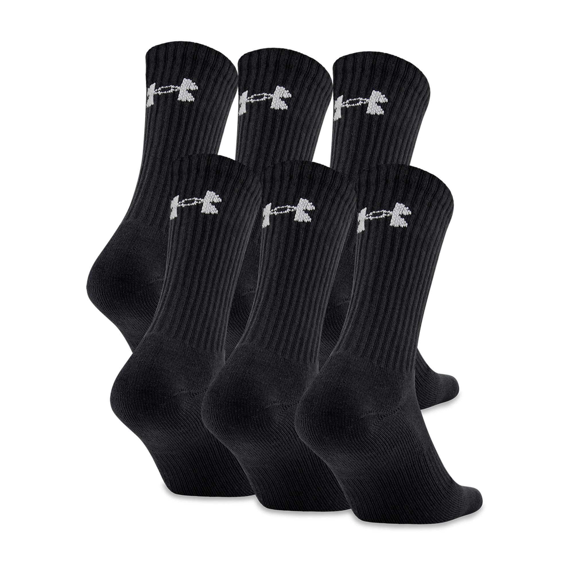 Under Armour Men's Charged Cotton 2.0 Socks, 6-Pair, Black/Gray, x Large by Under Armour