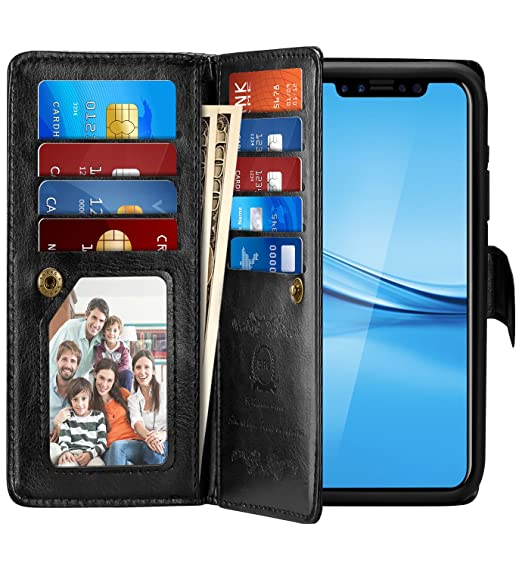 detailed look ce878 e7f19 iPhone X Case, Pasonomi iPhone X Wallet Case with Detachable SlimCase -  [Folio Style] PU Leather Wallet case with ID&Card Holder Slot Wrist Strap  for ...