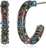 "Betsey Johnson ""Confetti"" Pave Mixed Multi-Colored Stone Hoop Earrings"
