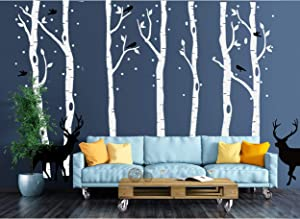 AIYANG Birch Tree Wall Stickers Deer Wall Decor Birds Stickers Nursery Wall Arts Bedroom Living Room Decoration (Grey,Black)