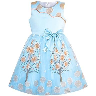 27a18ba4264 Sunny Fashion Robe Fille Prune Fleur Arbre Arc Attacher Partie  Reconstitution Historique 6 Ans