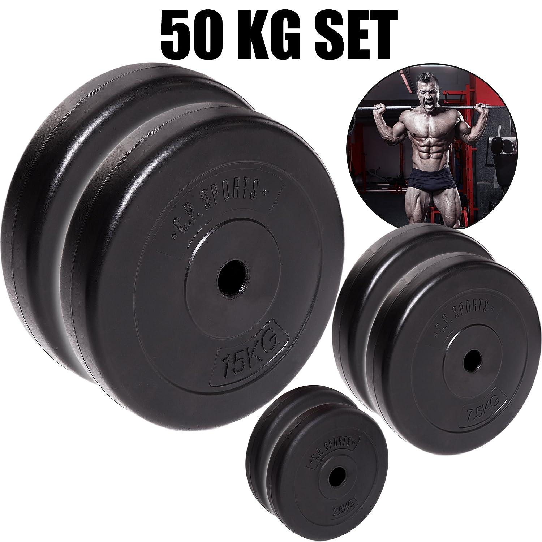 C.P. Sports - Juego de pesas para mancuernas de 50 kg, placas de pesas diferentes, 30 mm, 2 x 15kg + 2 x 7,5kg + 2 x 2,5kg: Amazon.es: Deportes y aire libre