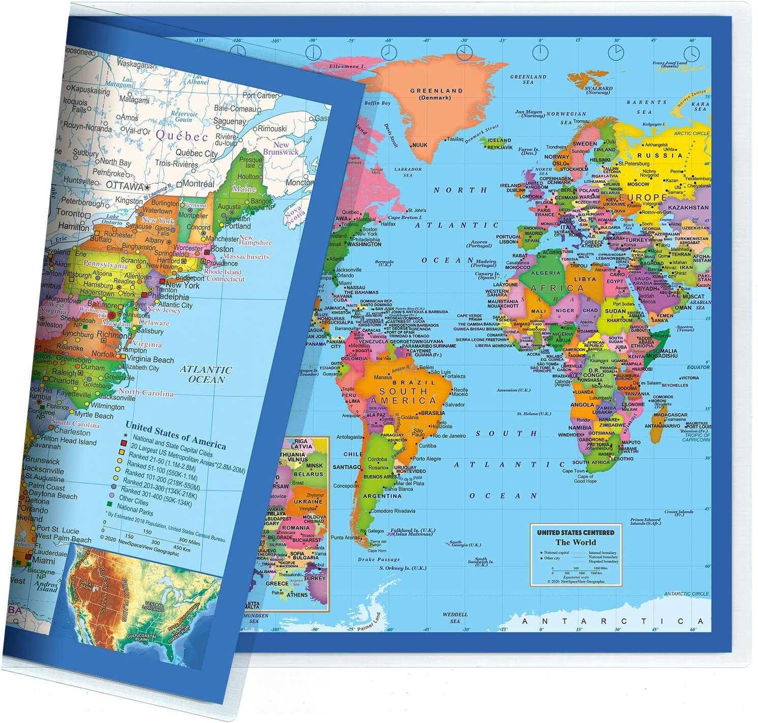 Mapa de escritorio clásico de Estados Unidos y el mundo, impresión de 2 caras, laminado sellado de 2 caras, tamaño pequeño póster de 11.5 x 17.5 pulgadas: Amazon.es: Oficina y papelería