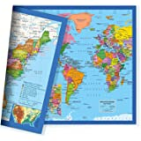 Classic United States USA and World Desk Map, 2-Sided Print, 2-Sided Sealed Lamination, Small Poster Size 11.5 x 17.5 inches