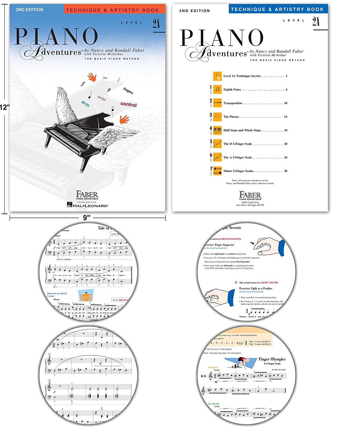 Faber Piano Adventures Level 2A 4-Pack Set, including Lesson, Theory, Performance, Technique & Artistry Books