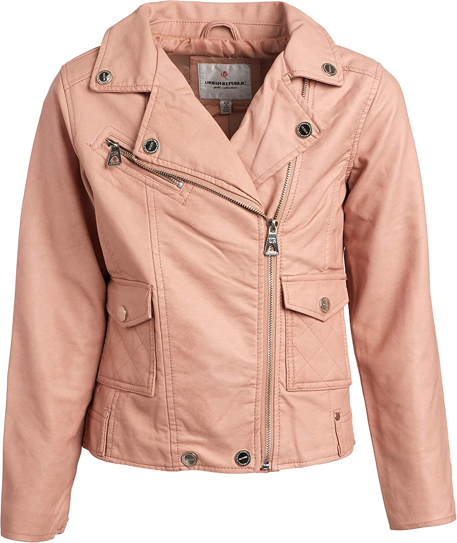 Urban Republic Girls Faux Leather Motorcycle Moto Biker Jacket Toddler//Little Girls//Big Girls