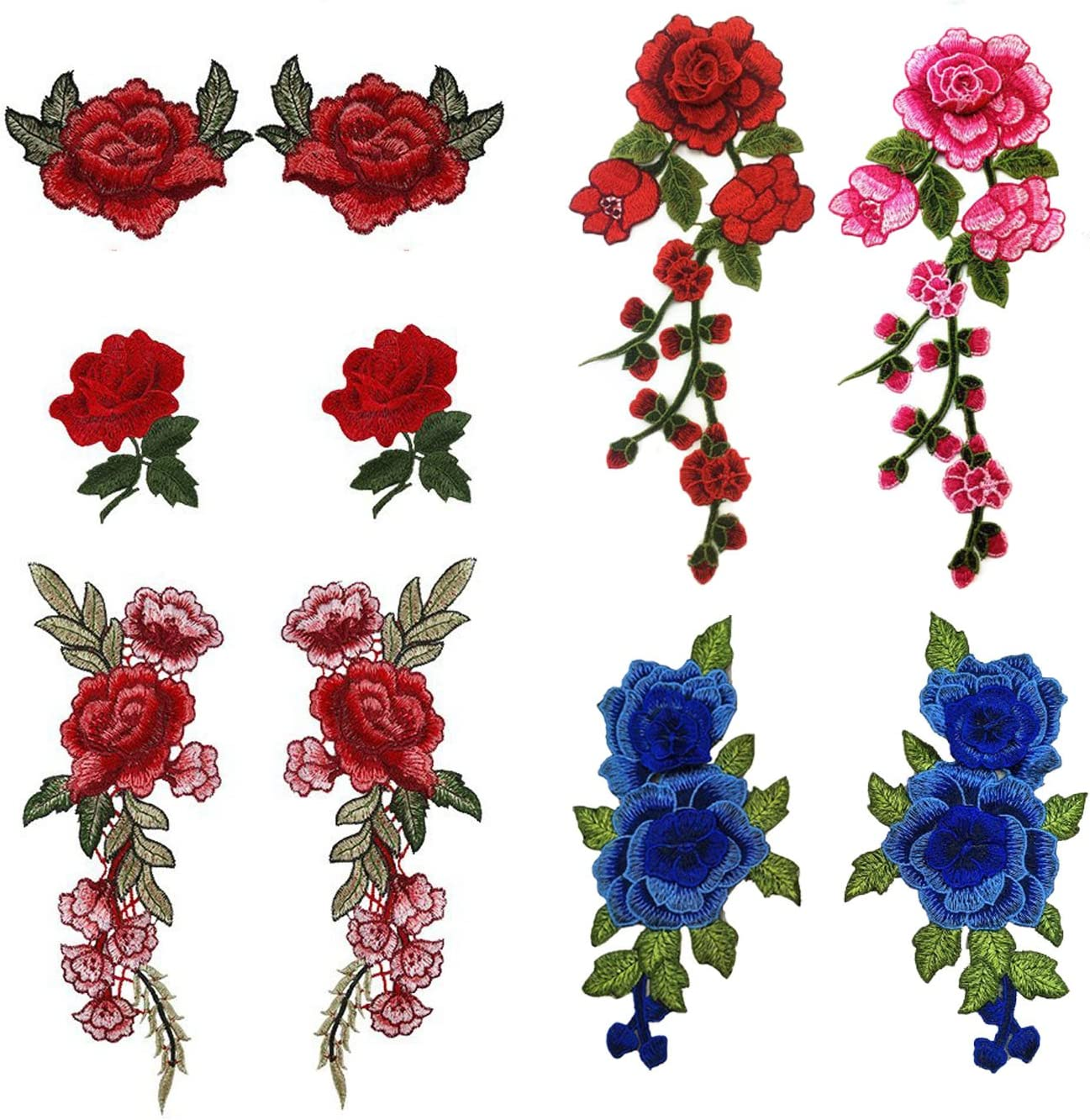 Ecusson Patch Broderie Rose Fleur écusson Thermocollant Chapeau SAC Applique