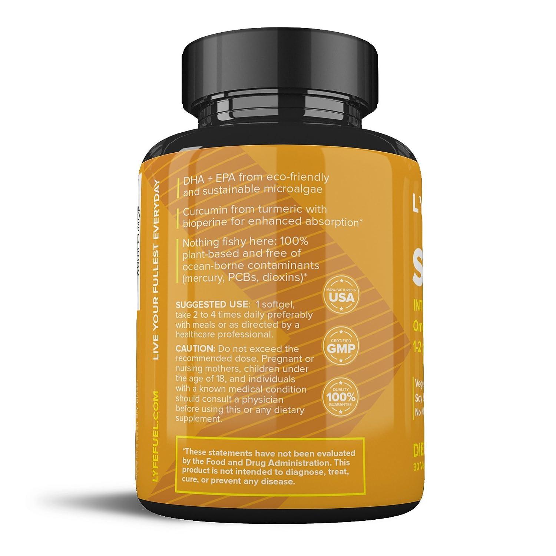 Amazon.com: Anti Inflammatory Supplement by LyfeFuel - Turmeric Curcumin  with Bioperine Black Pepper and Algae Oil Omega 3 Fatty Acids (EPA + DHA) -  Plant ...