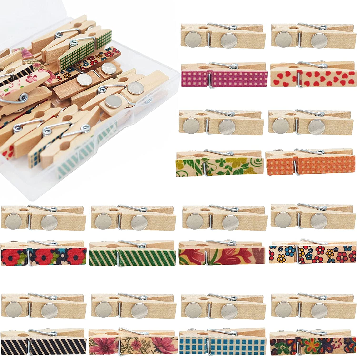 20 Pieces Decorative Magnetic Clips Wood Refrigerator Magnet Clips for Office School Home Use, Random Partterns (Color 1)