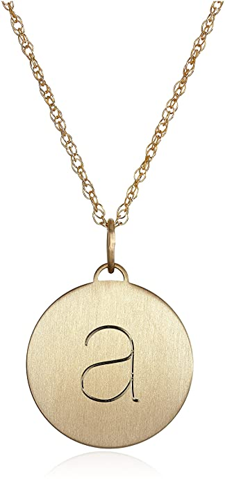 Amazon 14k gold filled round a heavy charm pendant necklace 18 14k gold filled round a heavy charm pendant necklace 18quot aloadofball Images