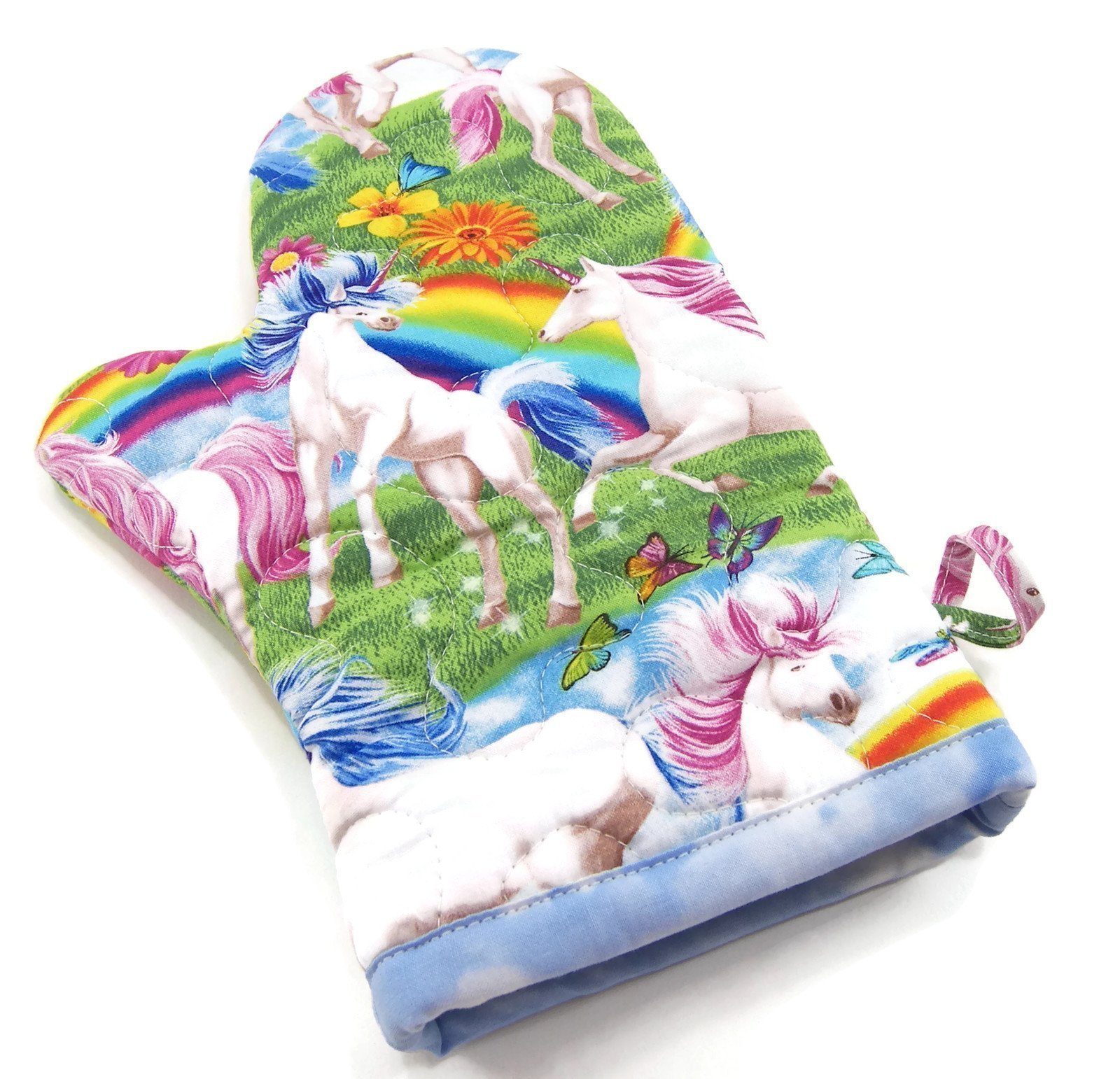 Unicorns and Rainbows Oven Mitt - Insulated Pot Holder - Cotton Fabric 6