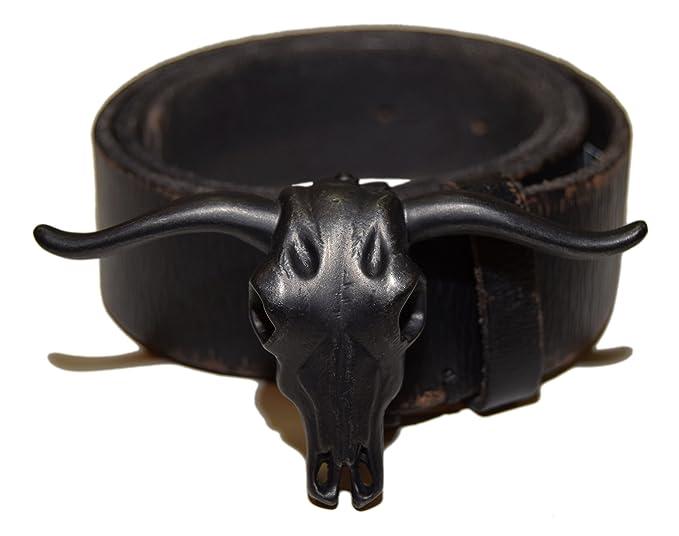 Kids/' Western Longhorn  Black Leather Belt