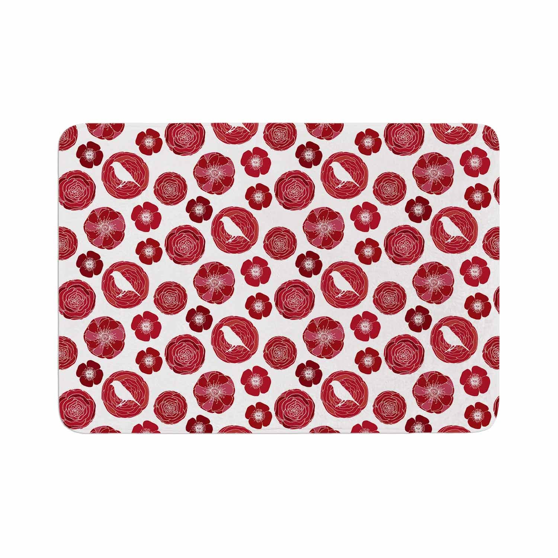 Kess InHouse Anchobee Lucrezia Red Pattern Memory Foam/Bath Mat 17 by 24