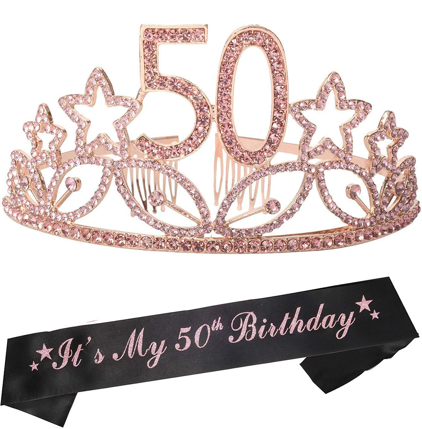 50th Birthday Gifts for Women, 50th Birthday Tiara and Sash, Happy 50th Birthday Party Supplies, 50th Birthday Sash and Tiara Birthday Crown for 50th Birthday Party Supplies and Decorations for Mother