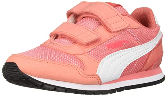 Puma Unisex ST Runner V2 MESH Kids Sneaker Velcro Closure, Shell Pink/White , 13 M US Little Kid