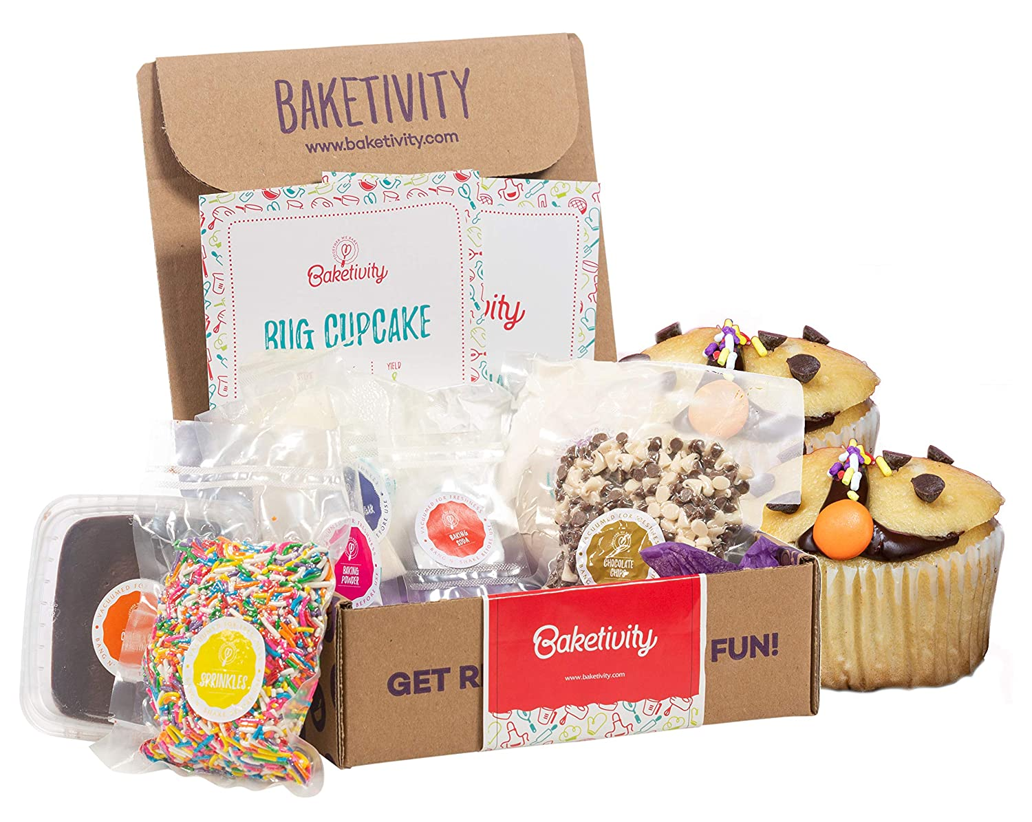 BAKETIVITY Kids Baking DIY Activity Kit - Bake Delicious Bug Cupcakes With Pre-Measured Ingredients – Best Gift Idea For Boys And Girls Ages 6-12
