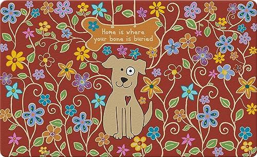 Toland Home Garden Dog Bone Red 18 x 30 Inch Decorative Flower Floor Mat Puppy Home Doormat
