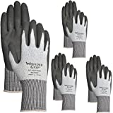 Wonder Grip (4 Pairs) Men's A2 Cut Resistant Work Gloves Heavy Duty Nitrile Coated