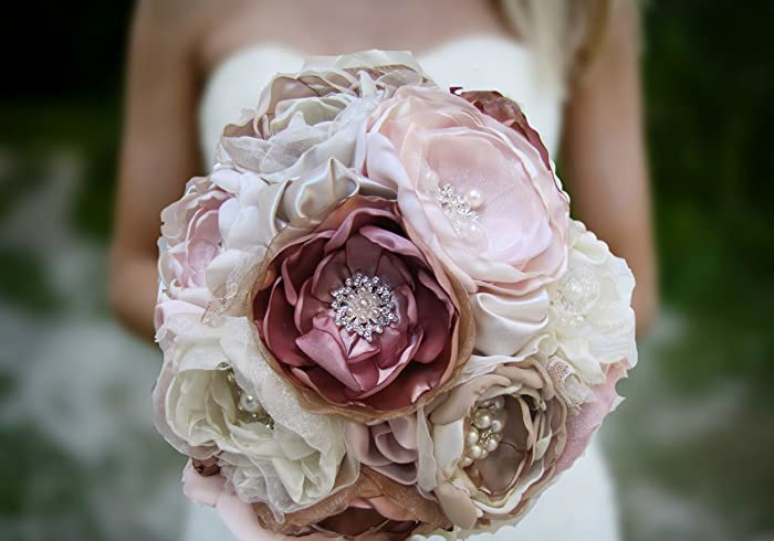 Amazon dusty rose gold wedding bouquet handmade blush pink dusty rose gold wedding bouquet handmade blush pink champagne ivory taupe fabric flower keepsake mightylinksfo
