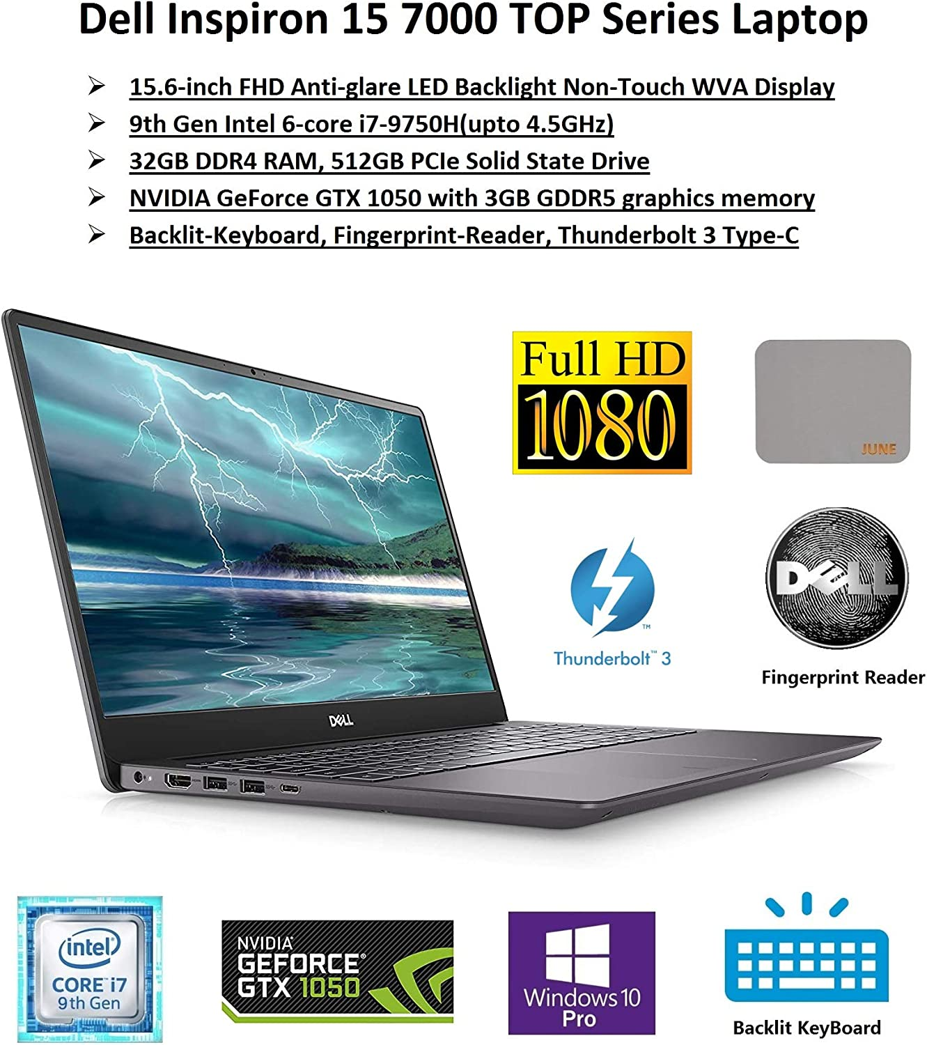"2020 Newest Dell Inspiron Flagship 15 7000 Premium Biz&Gaming Laptop: 15.6"" FHD Display, Intel 6-core i7 CPU, 32GB RAM, 512GB SSD, NVIDIA GTX1050, Backlit-KB, FP-Reader, ThurderBolt, Win10Pro, JuneMP"