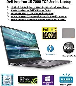 "2020 Newest Dell Inspiron Flagship 15 7000 Premium Biz&Gaming Laptop: 15.6"" FHD Display, Intel 6-core i7 CPU, 32GB RAM, 512GB SSD, NVIDIA GTX1050, Backlit-KB, FP-Reader, ThurderBolt, Win10Pro, JuneMP"