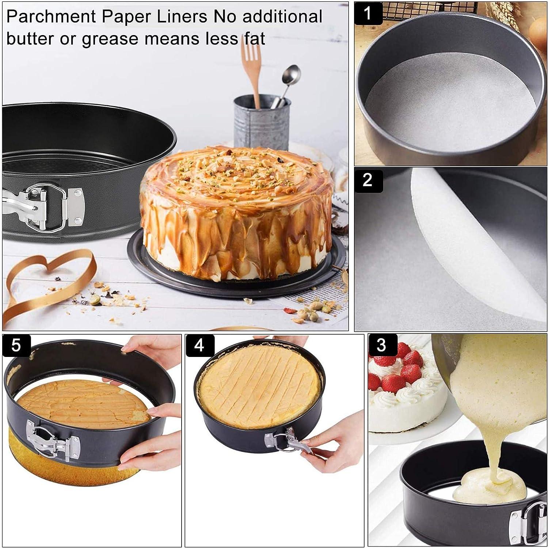 Springform Pan Set,3pcs 7 9 11 Nonstick Leakproof Round Cake Pan Set,Wedding Cake Pans,Spring Form Pan,Spring Pan,Springform Cake Pan,Cheesecake Pan with Removable Bottom and 50pcs Parchment Paper