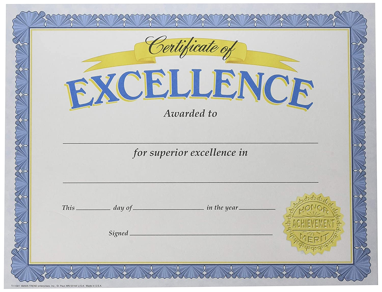 Amazon Trend Enterprises Inc Certificate Of Excellence