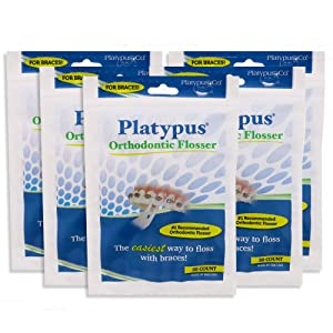 Platypus Orthodontic Flossers for Braces-Unique Structure Fits Under Arch Wire, Floss Entire Mouth in Less Than Two Minutes, Increases Flossing Compliance Over 84% - 30 Count Bag- Pack of 5