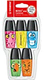 Highlighter - STABILO BOSS MINI Funimals Pack of 5 Assorted Colours