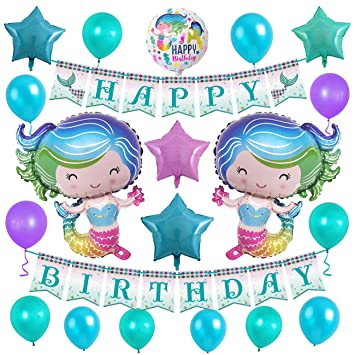 amazon com mermaid glitter happy birthday banner 28inch helium