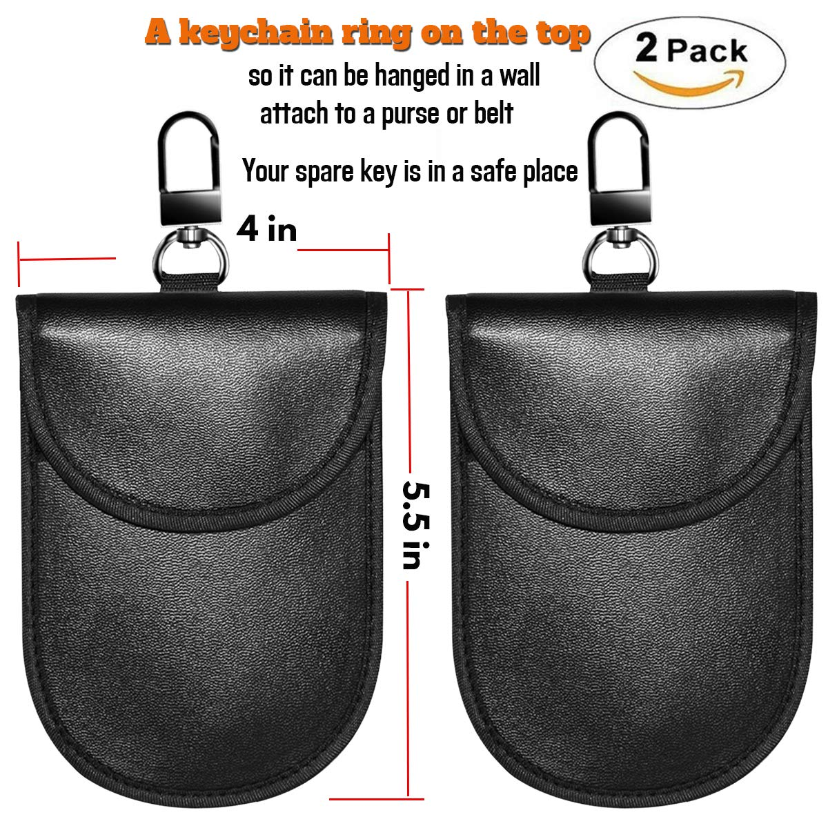 Faraday Bag Faraday Key Fob Protector, Car RFID Signal Blocking Pouch Protector, Faraday Cage Fob Guard for Keyless, Cars Security Anti Theft, Anti-Hacking Case RFID WIFI Blocker Box, 2 PACK