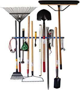 Hooks N Holders Home Organizers and Storage. 12 Grip Tool Organizer Wall Mount Garden Tool Hanger, Laundry Room Organizer, Mop and Broom Holder Wall Mounted, Yard Tool Organizer for Garage or Shed.