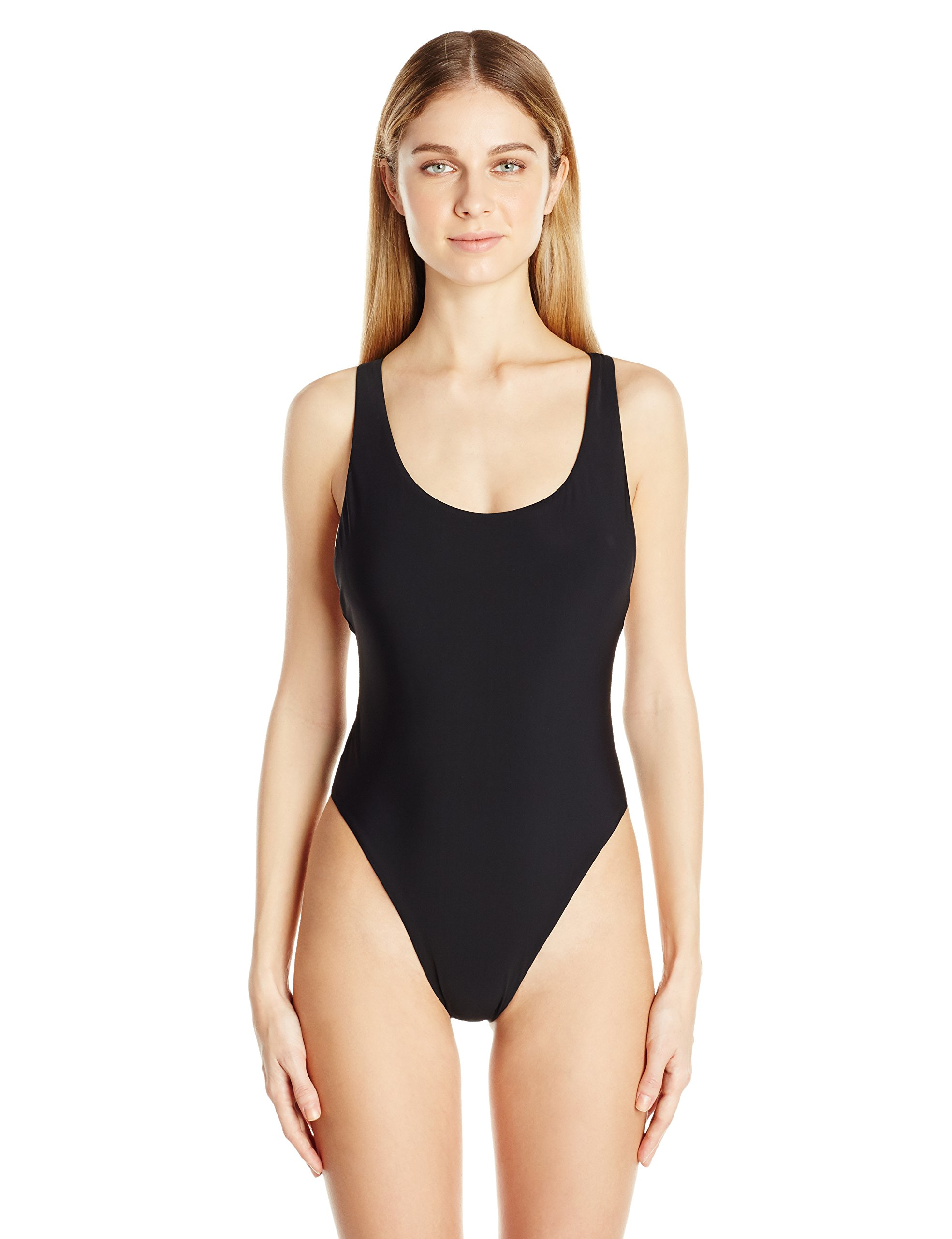 Red Carter Women's Splice and Dice 80's Style High Hip One Piece Swimsuit, Black, L