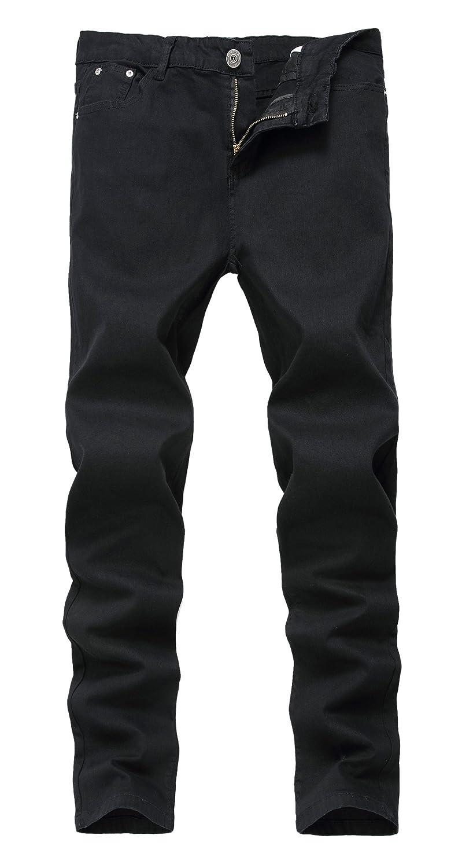メンズスキニースリムフィットジーンズ ストレッチ ストレートレッグ ファッショナブル B01MXRI17M 38W|ブラック ブラック 38W
