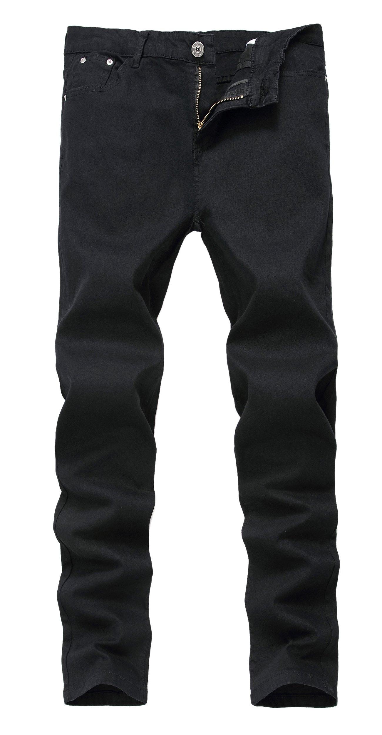 Mens Black Skinny Slim Fit Stretch Straight Leg Fashion Jeans Pants, Black, 32W