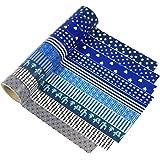 UOOOM 10 Rolls Beautiful Farbe Blau und Schwarz Weiß Washi Tape Masking Tape deko Klebeband Buntes Klebebänder DIY Scrapbook deko (Design 9048)